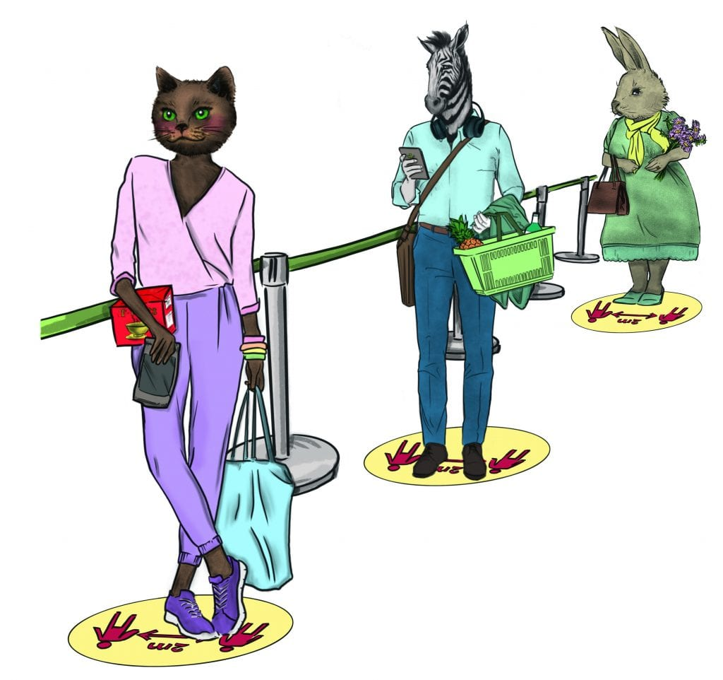 Cat, Zebra and Bunny Social Distancing Coloured