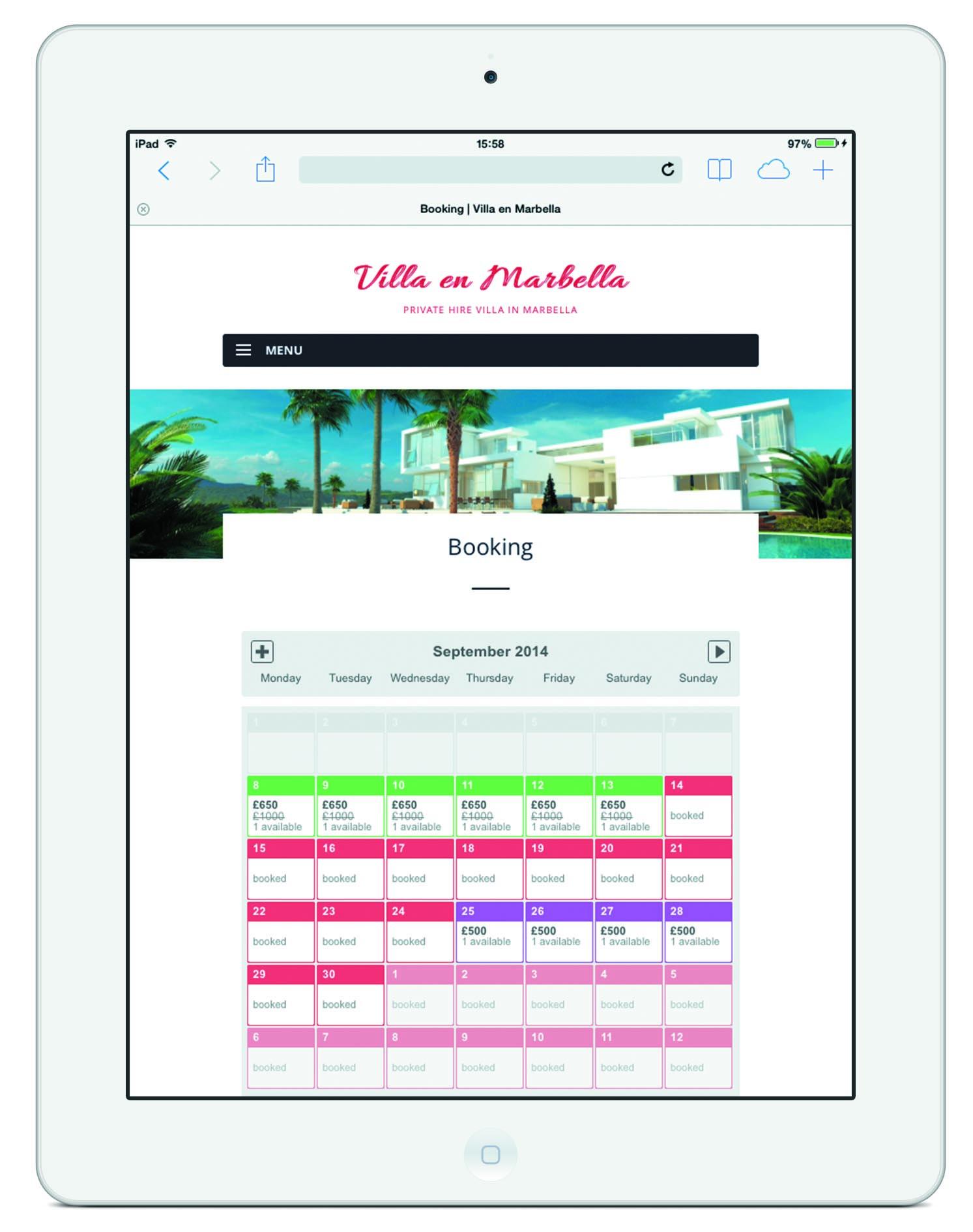 Marbella Booking iPad